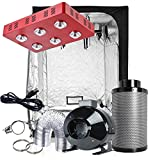 Oppolite Indoor LED Grow Light Tent Complete Kit Hydroponics Growing System LED 1200W COB Full Spectrum Grow Light + 6'' Fan Filter Combo Ventilation Kit + 60''x60''x80'' Indoor Grow Tent Box