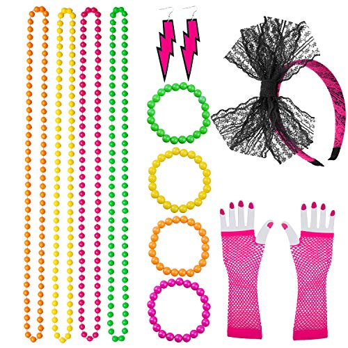 Coobey 80s Neon Bracelet Necklace Bow Headband Fishnet Gloves Lighting Earring