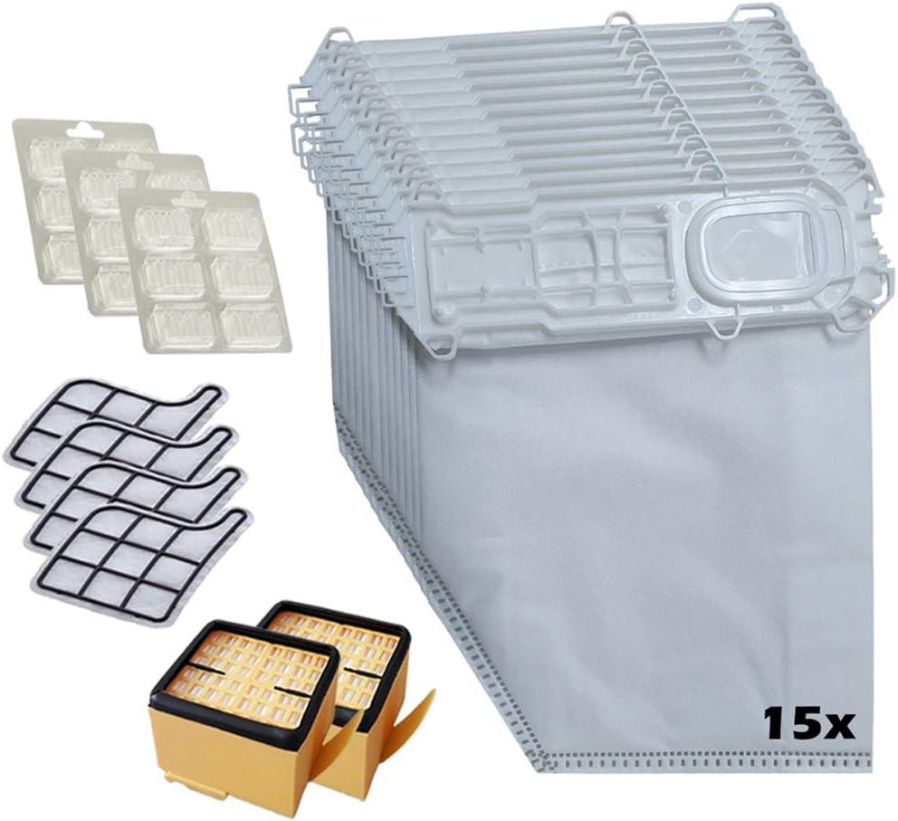 15 sacs daspirateur 18 pierres parfum/ées pour aspirateur Vorwerk Kobold 135 136 135SC Lot de 39 pi/èces 6 filtres ZahRAVAC