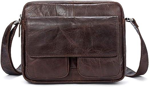 Mens Shoulder Messenger Bag Vintage Leather Briefcase Crossbody Day Bag for School and Work