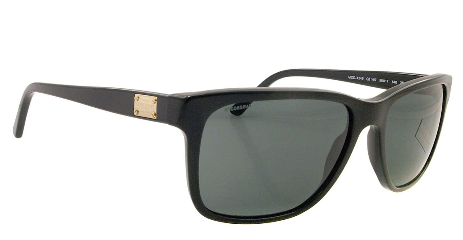 d5e9e8f3a5bbd Versace Men s VE4249-GB1 87-58 Black Rectangle Sunglasses  Versace   Amazon.ca  Luggage   Bags