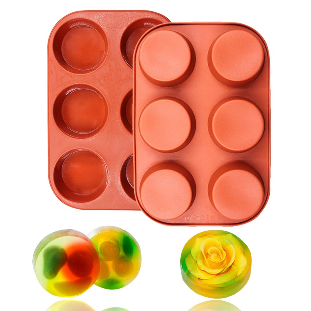 BAKER DEPOT 6 Cavity Round Silicone Mold For Muffin Cupcake Bread Handmade Soap DIY cake mold Dessert Mold Set of 2