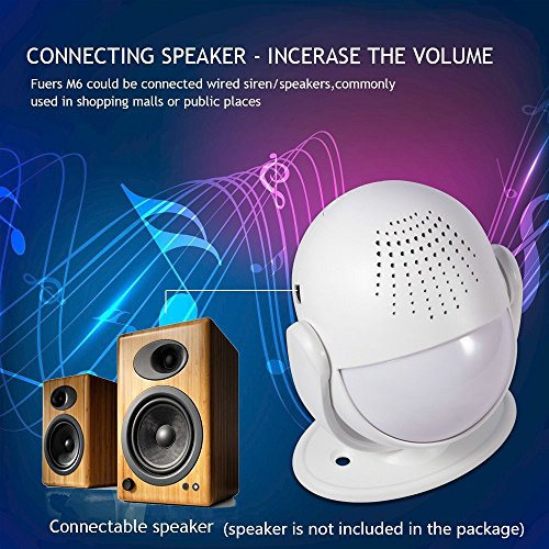 Fuers M6 Wireless Motion Alarm and Alert System with Customize Voice/Songs Function,Welcome Guest Entry Chime, Connectable Speaker for Shop, Hotel, Home by Fuers (Image #5)