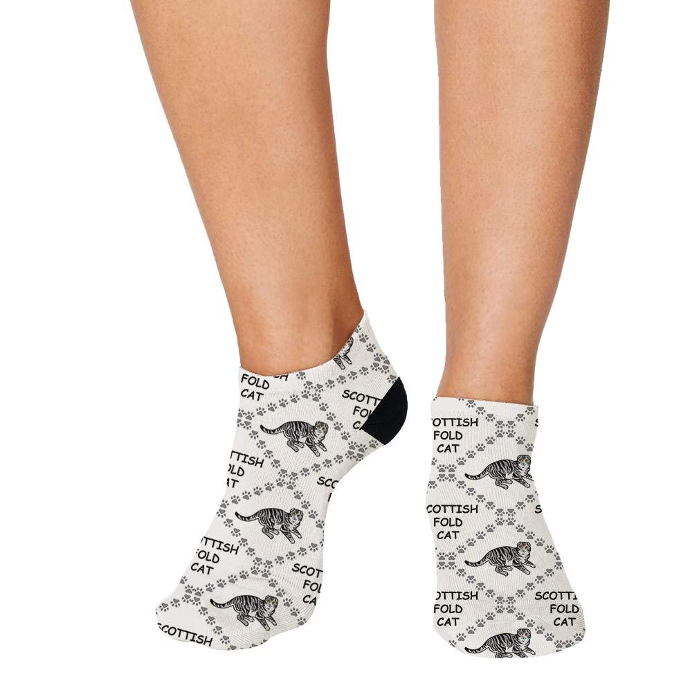 Scottish Fold Cat Paws Pattern #6 Men-Women Adult Ankle Socks Novelty Socks