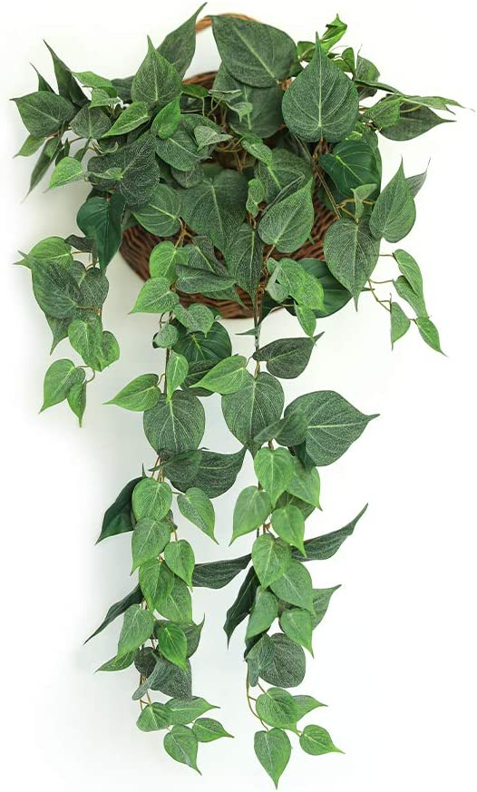 JUSTOYOU Artificial Hanging Plants 3.2FT Fake Pothos Plant with 7 Branches for Wall Hanging Home Kitchen Garden Indoor Outdoor Decor (Scindapsus Leaves-Basket not Include)