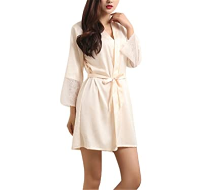 ad788556c05d Nerefy Women Lady Sexy Lingerie Sleep Dress Robe Pajama Sleepwear Nightwear  Night Dress Lady Beige M