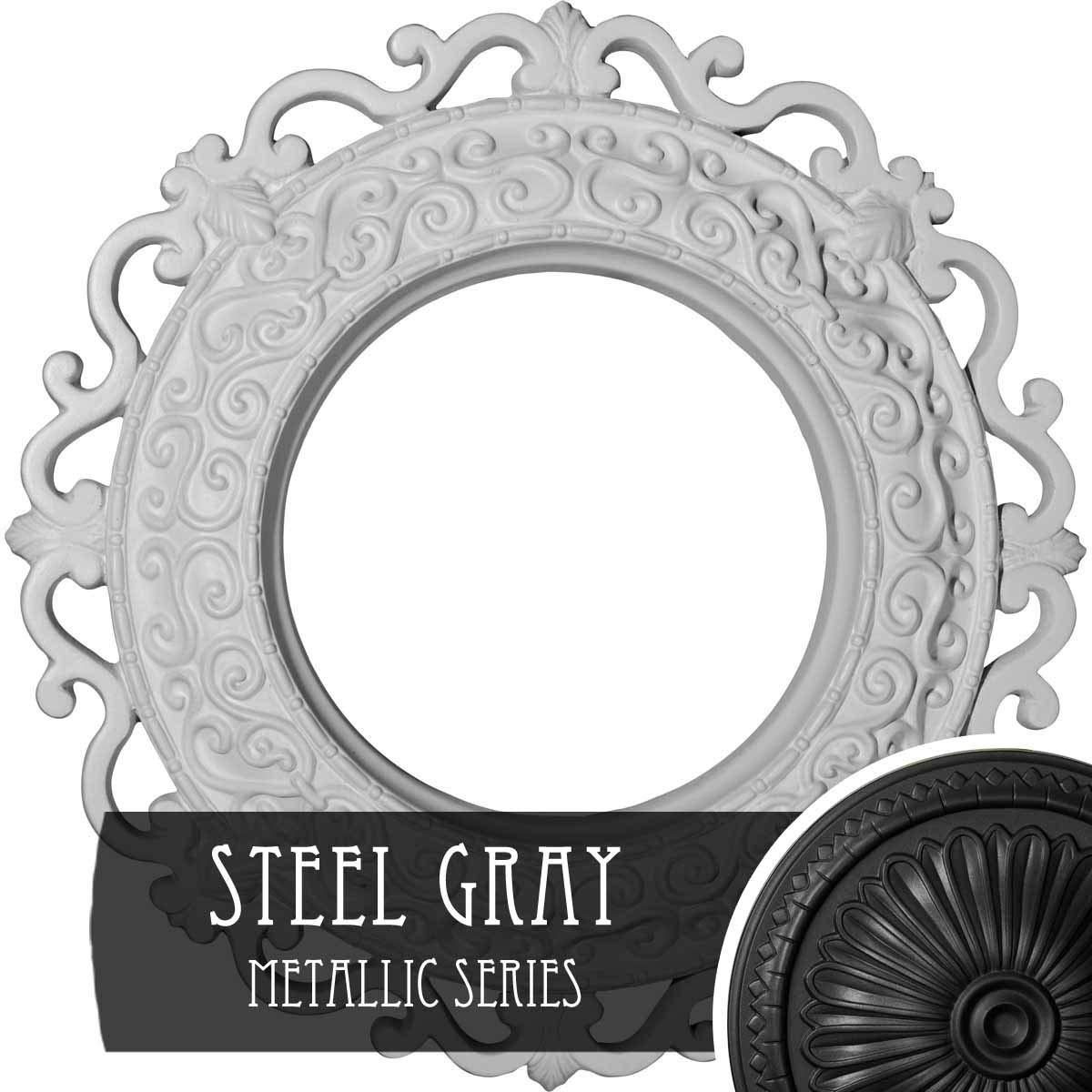 Ekena Millwork CM13ORSGS Orrington Hand-Painted Ceiling Medallion, Steel Gray