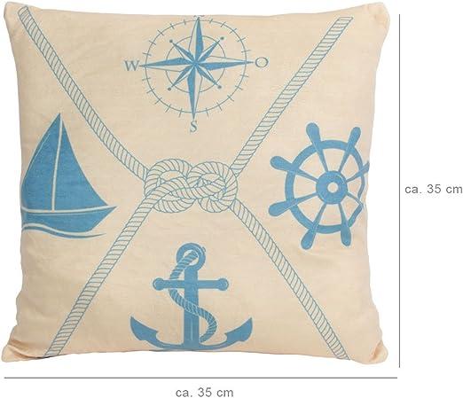 Kissen Dekokissen Maritim rund Deko Geschenkidee Seefahrt Geschenk Anker Kompass blau 35x35 von ALSINO, Variante wählen:Ki 93 Anker Kompass