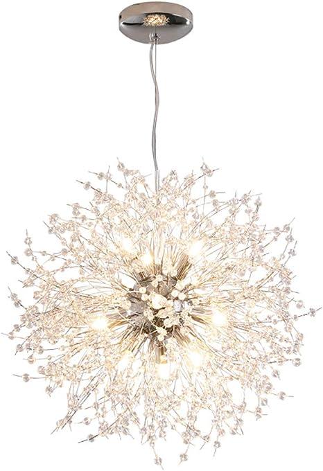 40 cm, 8 luci, Argento per Camera da Letto Plafoniera Moderna LED Sala da Pranzo(Con lampadina) Soggiorno Lampadario Oro Cristallo Dellemade Sputnik Lampadario
