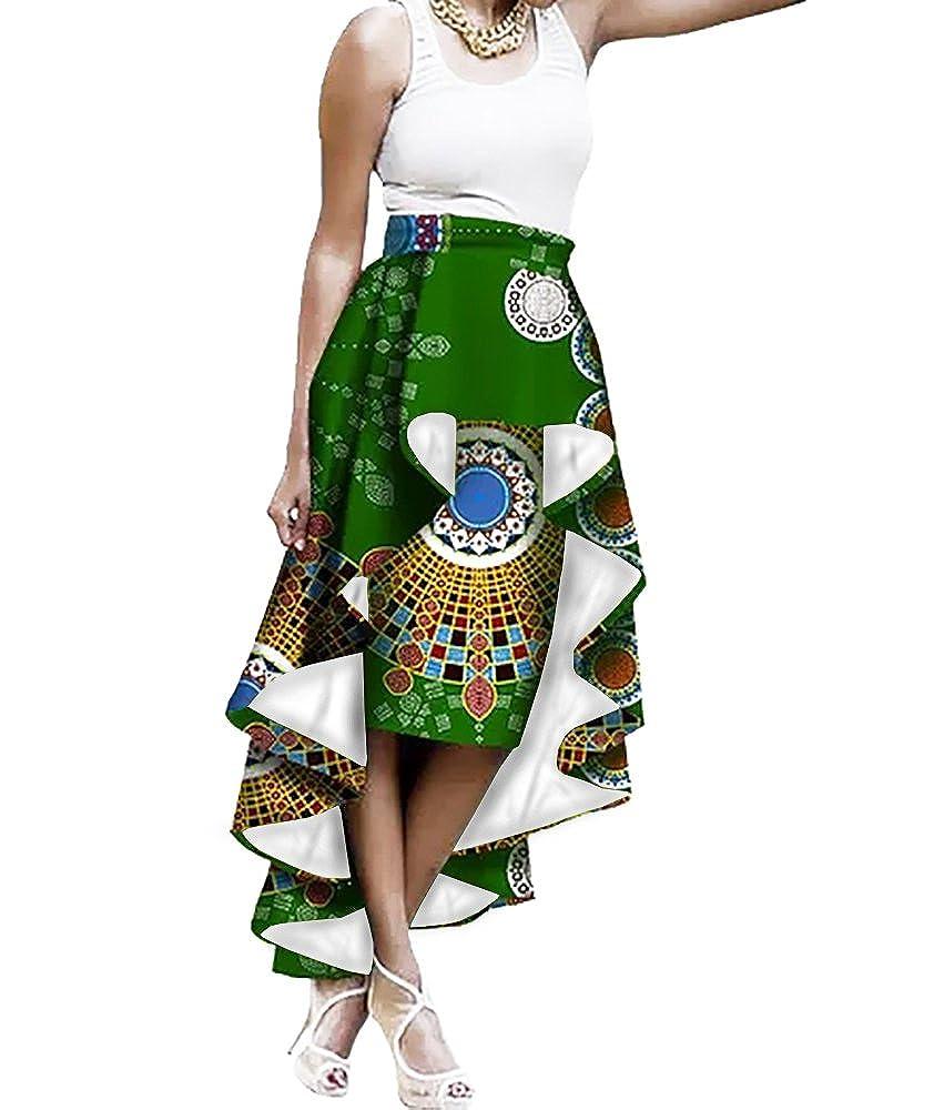 73f9c4e0a7 Amazon.com  Liyuandian Womens African Print High Waisted Skirts Dashiki High  Low Asymmetrical Long Maxi Skirt  Clothing