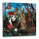 3dRose LLC Zoo Animals Wall Clock, 10 by 10-Inch