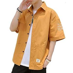 シャツ メンズ 五分袖 オックスフォード シャツ メンズ 無地 春 夏 大きいサイズ ファッション シャツ カジュアルシャ