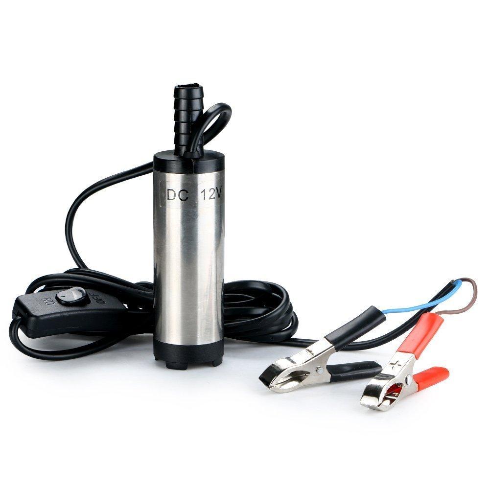 TOPCHK 12V 38mm Pompe submersible en acier inoxydable Huile d'eau Pompe de transfert de carburant diesel pour huile de voiture Liquide Pompe à eau de carburant diesel Pompe de transfert 12V Pompe à eau