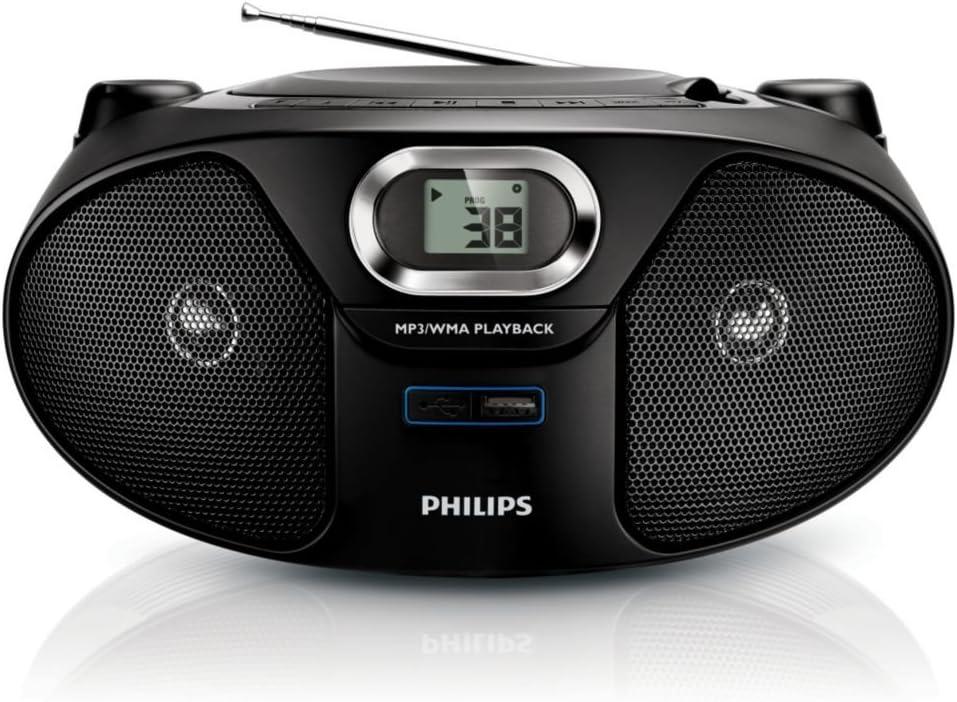 Philips AZ385/12 - Lector y grabador de CD portátil (2 W, MP3, WMA ...