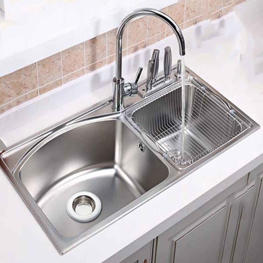 ASDOMO 2PCS Kitchen Sink Strainer - Perfect for Kitchen Sinks & Bathroom Drain Strainer (Large)