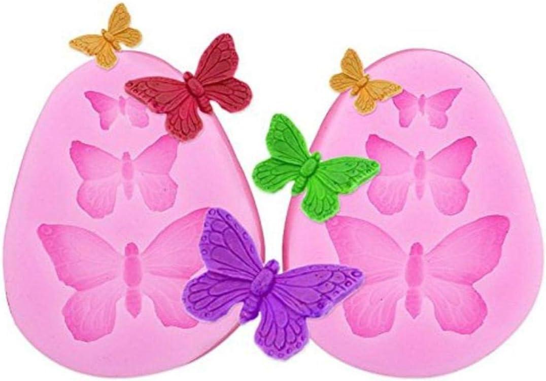 JoyliveCY Molde de silicona para fondant de pasteles dise/ño de mariposas en 3D color al azar