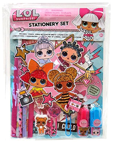 LOL Surprise! 10pc Stationery Set in Bag Eraser HIGHLIGHTERS Pencil Ruler
