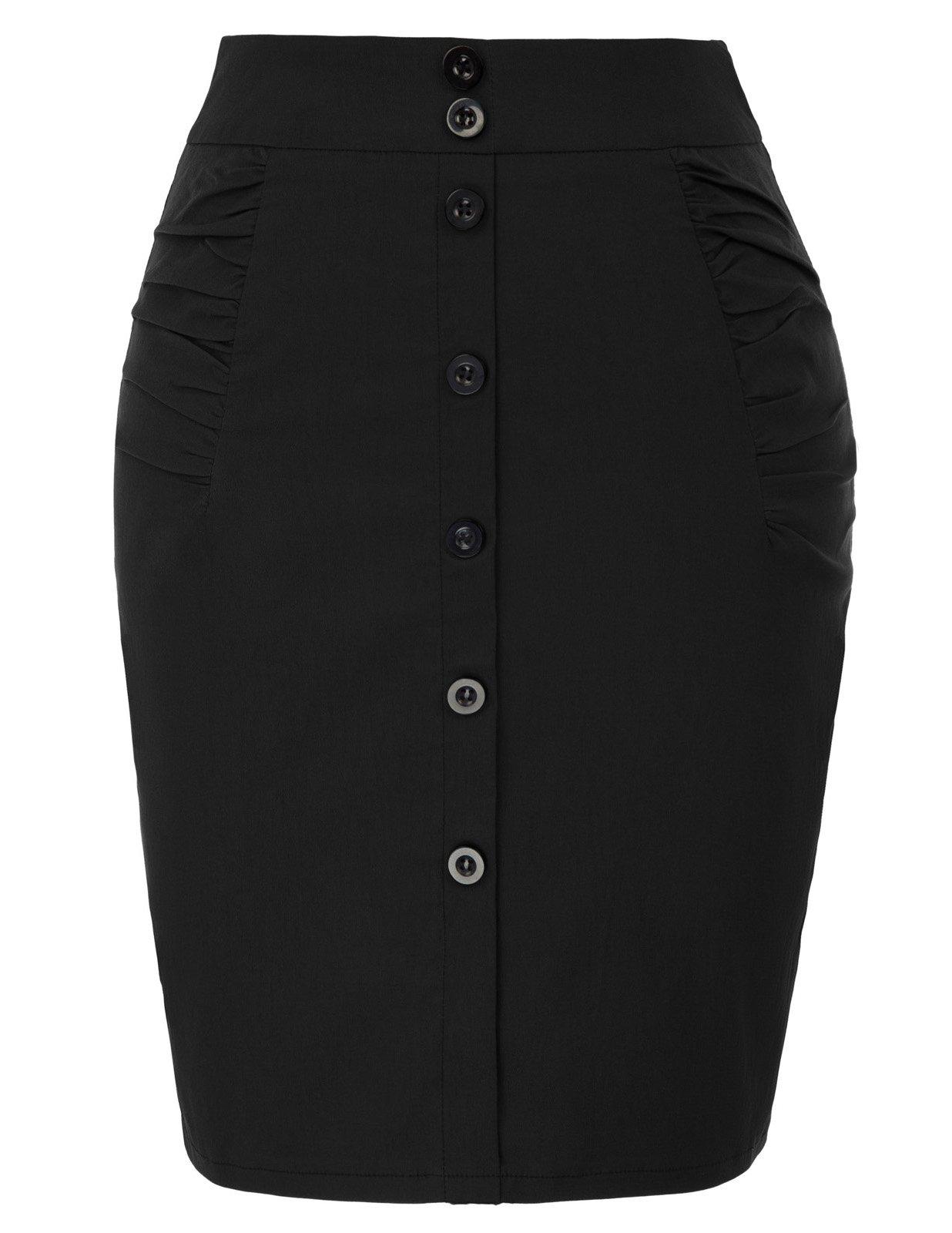 Kate Kasin Womens Knee Pencil Skirt Stretchy Business Skirt Size S Black KK1108-1
