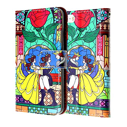 Beauty & the Beast iPhone 8 Wallet Case, IMAGITOUCH Folio Flip PU Leather Wallet Case with Kickstand Wrist strap and Card Slots for iphone 8- Slim Book Beauty & the Beast Rose Wallet