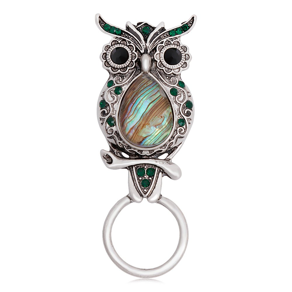 CHUANGYUN Ancient Silver Owl with Abalone Shellfish Magnetic Brooch Eyeglasses Holder Charm Jewelry (Green Rhinestone)