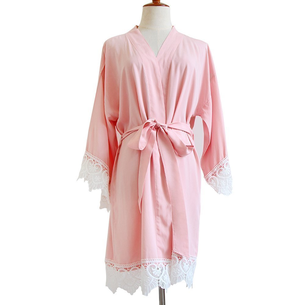 Blush Pink Women Kimono Robe(With Lace Trims)-Bridesmaid Kimono Robe-Bridesmaid Gift-Wedding Party Bridal Party Gift-Rayon Fabric