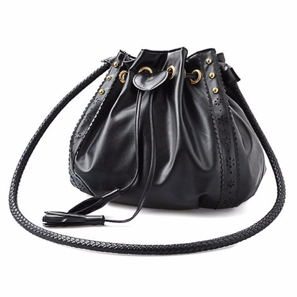 OVERMAL Women Leather Messenger Hobo Bags Handbag Shoulder Bag Tote Purse (Black)