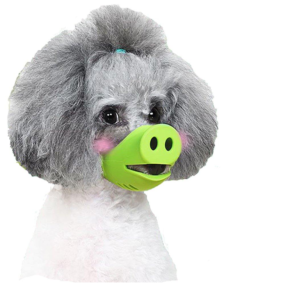 iMichelle Anti Bite Dog Silicone Mask Muzzles for Biting Chewing, Dog Anti Biting/Barking Muzzle Funny Pig Mouth Shape Puppy Muzzles Masks For Small Dog Chihuahua Corgi Dachshund Shih tzu Teddy (S)