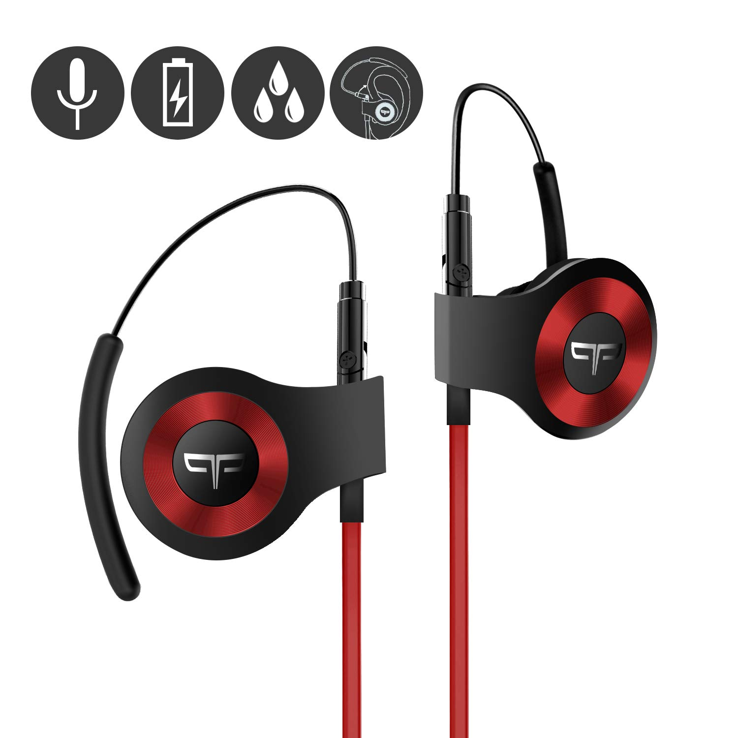 Origem HS-3 Bluetooth Headphones, Wireless Sports Earbuds with DSP Audio Algorithm, True Voice Recognition, Rotatable Ear Hook, Graphene Driver, Fast Charging and Built-in Smart Mic Red