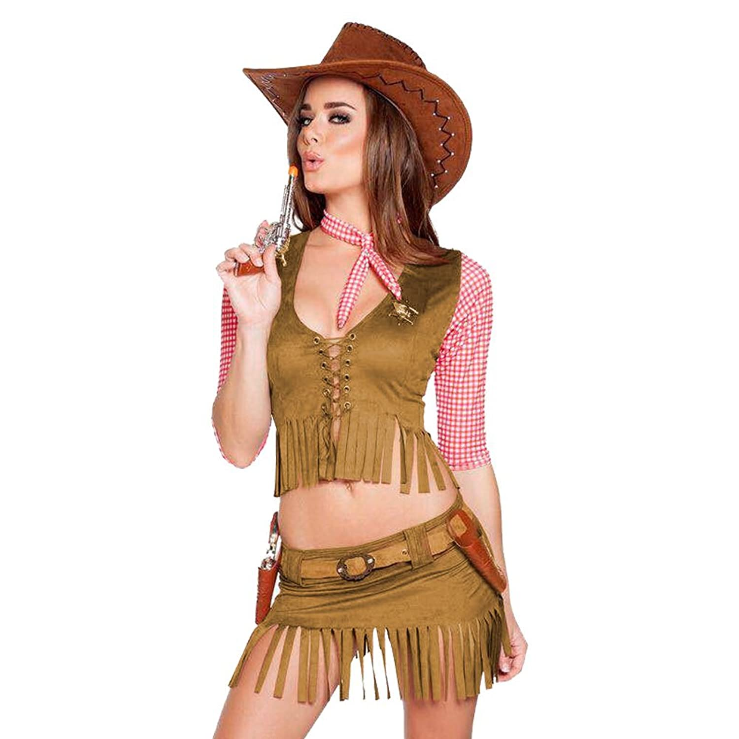 Women Halloween Cowboy Cowgirl Pirate Outfit Fancy Party Costume