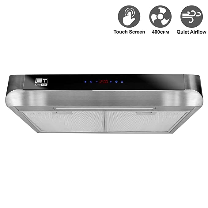 LiveTech 30 Stainless Steel 400 CFM Range Hood with Touch Control and LED Light