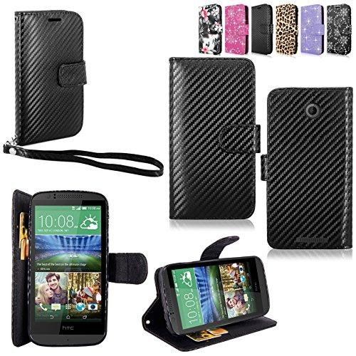 HTC Desire 510 Case - Cellularvilla Pu Leather Wallet Card Flip Open Pocket Case Cover Pouch for HTC Desire 510 (Carbon Fiber Black)