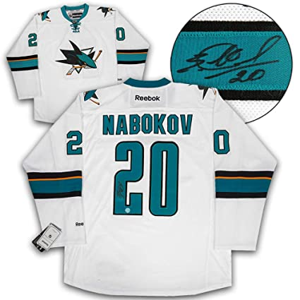 Evgeni Nabokov San Jose Sharks Autographed Autograph Reebok Premier ... 45d37f058c4