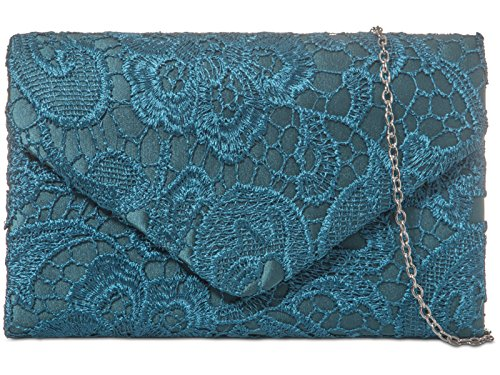 Ladies Satin Lace Clutch Bag Shoulder Chain Elegant Wedding Evening Womens - Burgundy Spruce