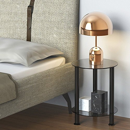 Fitueyes Grey Glass Modern End Table Accent Small Side Table Coffee Table DT203801GT