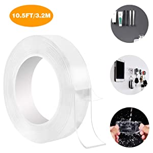 Double Sided Adhesive Nano Tape,Transparent Strong Washable Adhesive Traceless Gel Tape,Removable and Reusable Sticky Anti Slip Tape for Home,Wall,Room,Office Decor(10.5FT/3.2M)