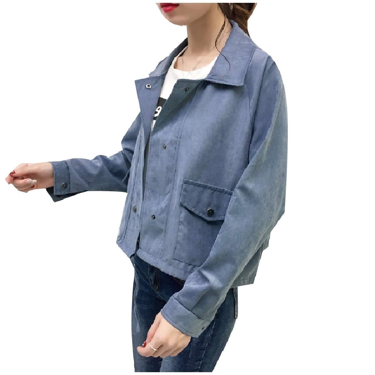 Comaba Women Loose Tunic Drawstring Long-Sleeve Cotton Bomber Jackets