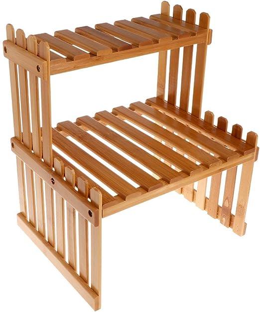 Runrain Estante de Madera de bambú para Plantas, Organizador de jardín: Amazon.es: Productos para mascotas