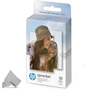 50 HP Sprocket Photo Paper Sheets, Exclusively for HP Sprocket Portable Photo Printer, (2x3-inch), Sticky-Backed Sheets + HeroFiber Ultra Gentle Cleaning Cloth