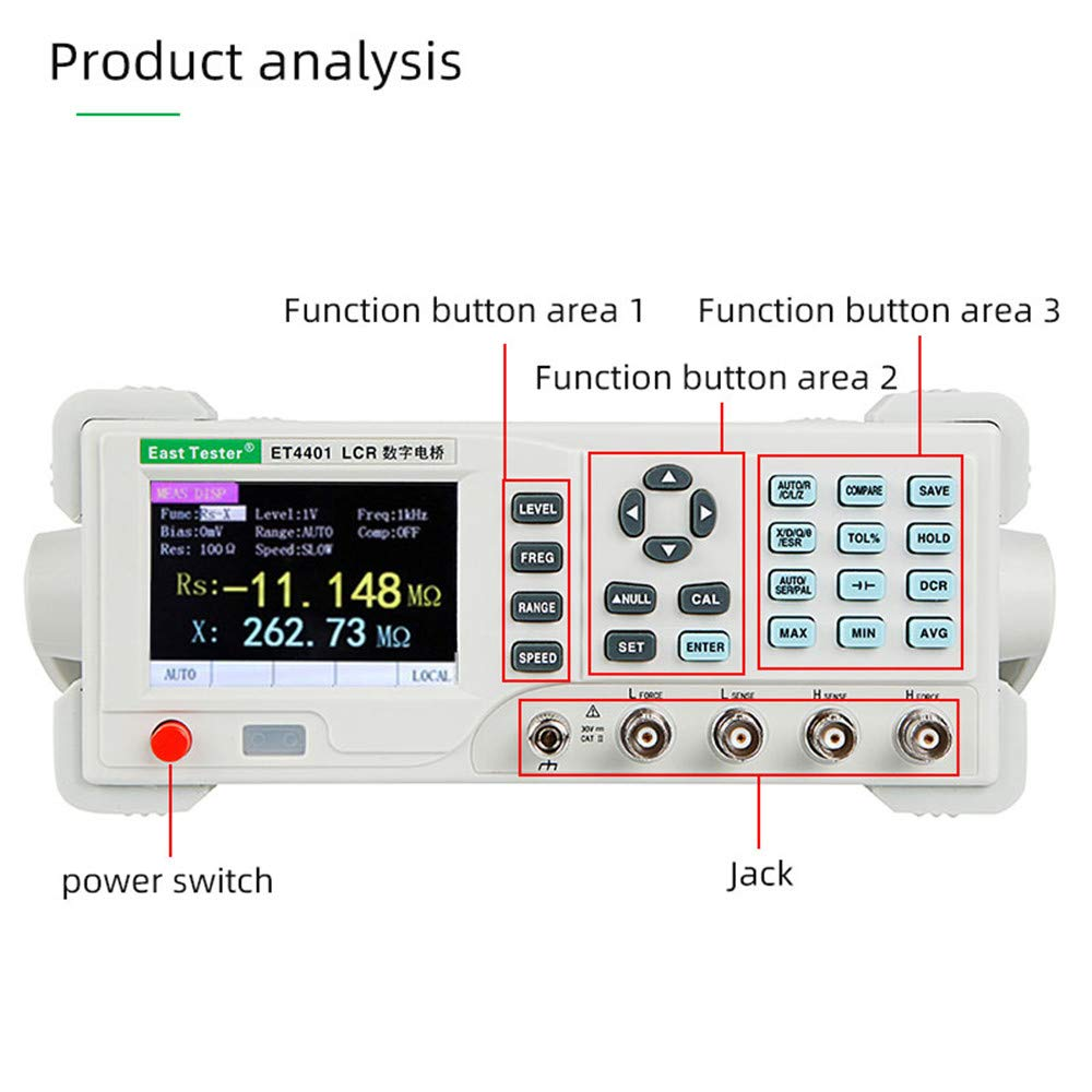 High Efficiency Adjustable Measuring Frequency 100hz~100KHZ Resistance Meter Capacitance Meters Measurement Accuracy Benchtop Digital LCR Meter ET4410 Desktop LCR Bridge with USB and RS-232