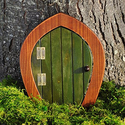 Miniature fairy garden wooden gnome door green garden for Large gnome doors