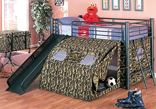 1PerfectChoice Oates Fun Youth Boys Kids Bedroom Loft Bed Tent Slide Ladder Metal Frame (Tent For Youth Bed)