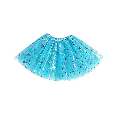 Gwxevce Kids Girls Net Yarn Mini Falda de tutú Faldas de Princesa ...