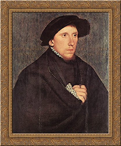 (Portrait of Henry Howard, the Earl of Surrey 20x23 Gold Ornate Wood Framed Canvas Art by Holbein, Hans (Younger))