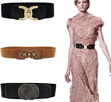 Womens Wide Elastic Waist Belt 2Pcs Retro Ladies Stretch Waist Dress Belt