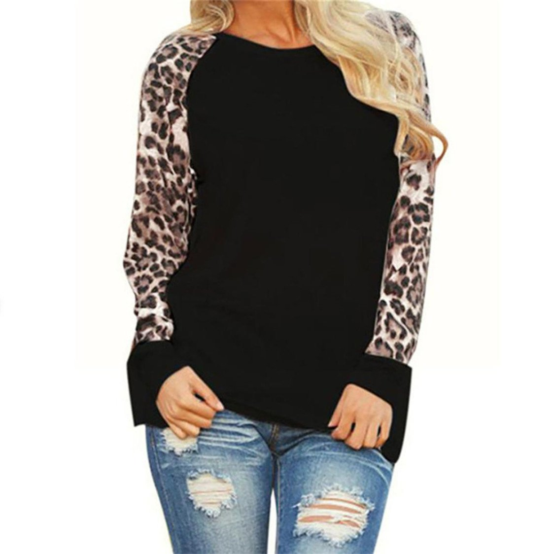 TIFENNY Fashion Womens Long Sleeve T-Shirt, Ladies Plus Size Leopard Blouse Oversize Tops(Gray,M) (XXL, Black)