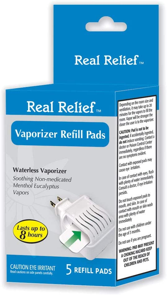 Real Relief Waterless Vaporizer Refill Pads with 5 Soothing Non-Medicated Menthol Eucalyptus Vapor Refill Pads