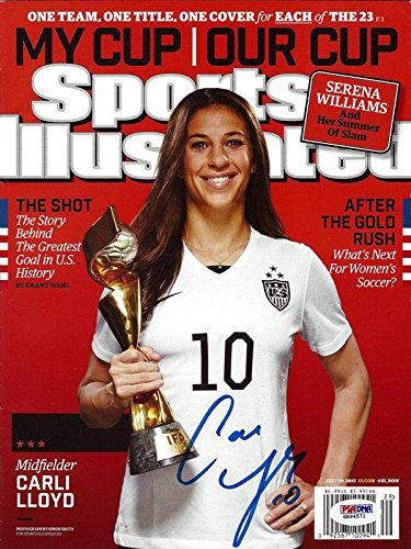Carli Lloyd Autographed Sports Illustrated Magazine Team Usa Itp 92999 PSA/DNA Certified Autographed Soccer Magazines