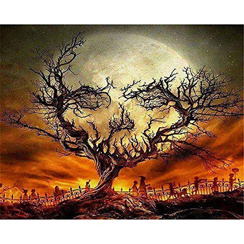Dark Christmas Halloween Horror Nights (LanMent DIY Oil Painting Halloween Weird Horror Trunk Witch Evil Night Paint by Number Kits Home Decor Wall Gift Painted 16x20)