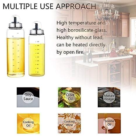 Fyuan 1pcs Dispensador de aceite de oliva y vinagre - 17 oz. Botellas de cristal transparentes para la cocción sin boquilla antigoteo.: Amazon.es: Hogar