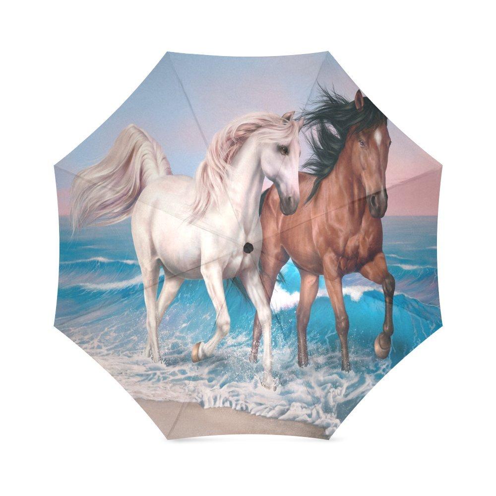 Horsesコンパクト折りたたみ式防雨防風旅行傘   B07DGT6P11
